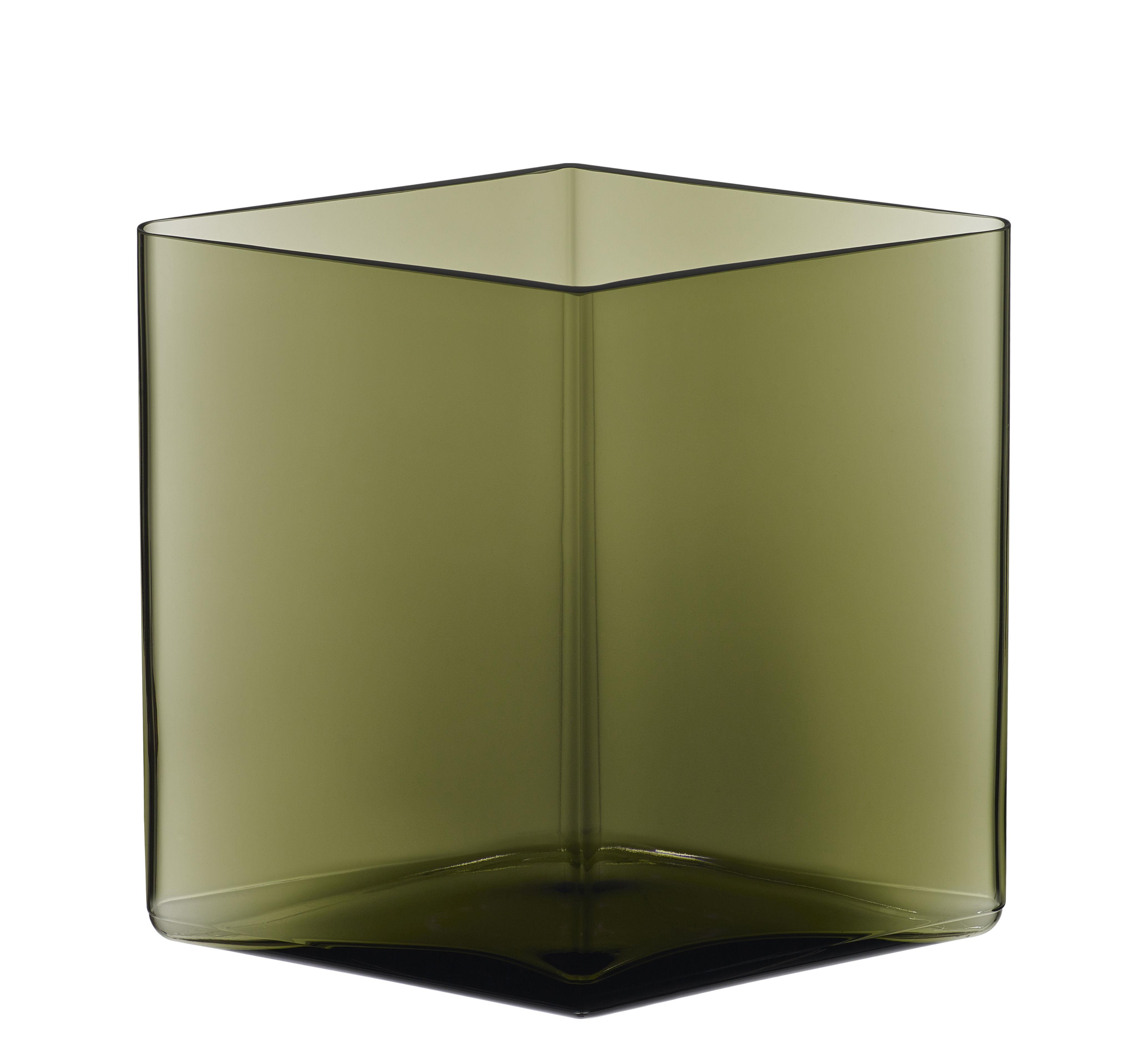 Interni - Vasi - Vaso Ruutu da R. & E. Bouroullec / L 20,5 x H 18 cm - Iittala - Verde mousse - Vetro soffiato a bocca
