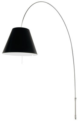 Lighting - Floor lamps - Lady Costanza Wall light with plug - Wall fixing by Luceplan - Aluminium base / Black shade - Aluminium, Polycarbonate
