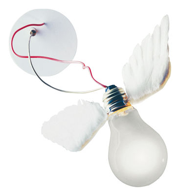 Leuchten - Wandleuchten - Lucellino NT LED Wandleuchte - Ingo Maurer - Weiß / Stromkabel rot - Gänsefeder, Glas, Metall