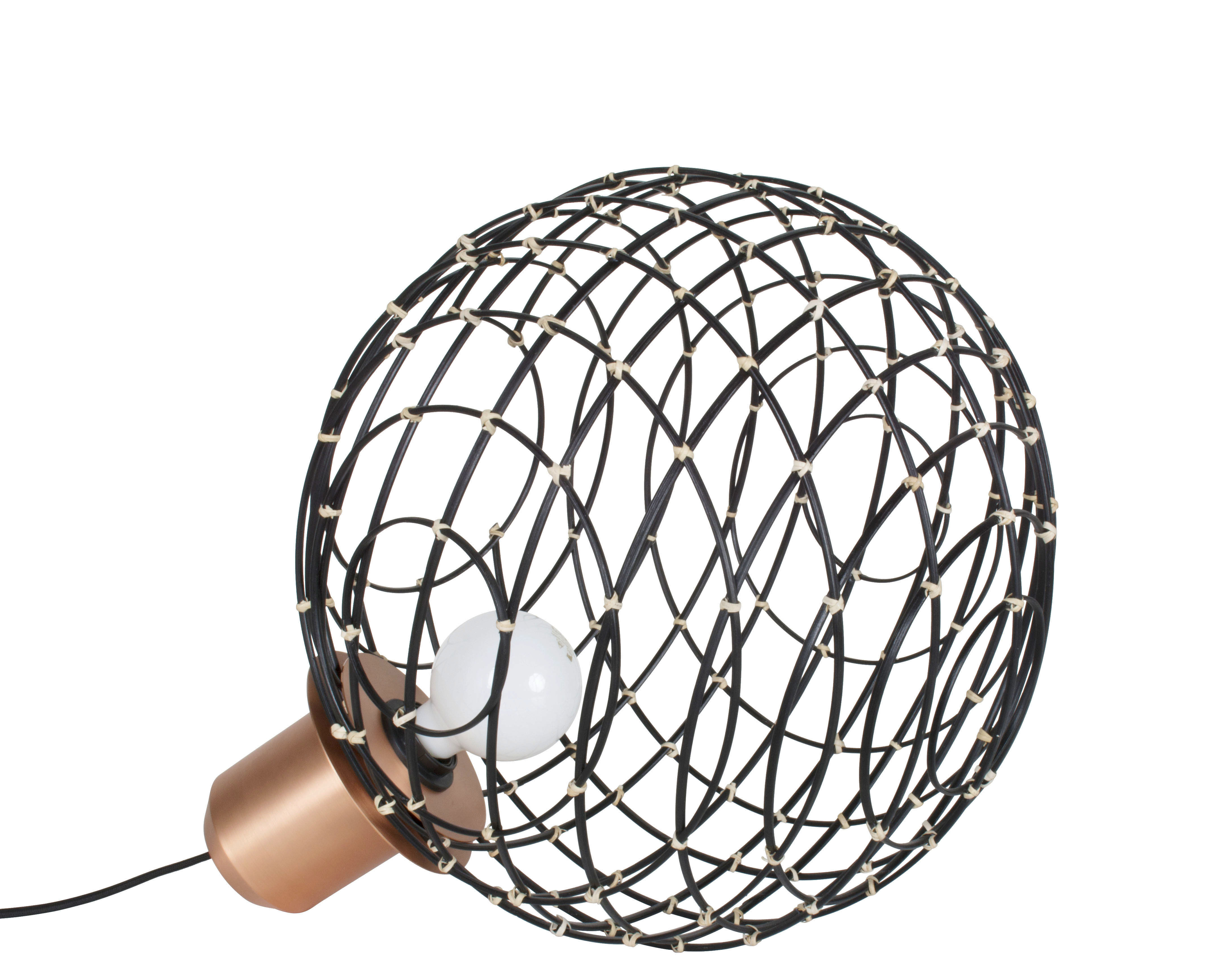 Lighting - Table Lamps - Sphere Medium Wireless lamp - / Bamboo - Ø 40 cm by Forestier - Black / Copper base - Bamboo, Metal
