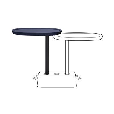 Furniture - Coffee Tables - Brick's Buddy Additional tray - / For Brick table - H 67.5 cm / Rotating by Fatboy - Dark ocean - Polythene, Steel