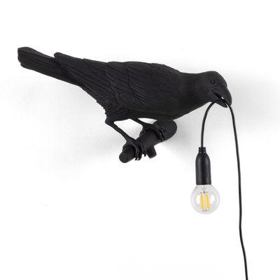 Luminaire - Appliques - Applique avec prise Bird Looking Right / Outdoor - Seletti - Lampe / Noir - Résine