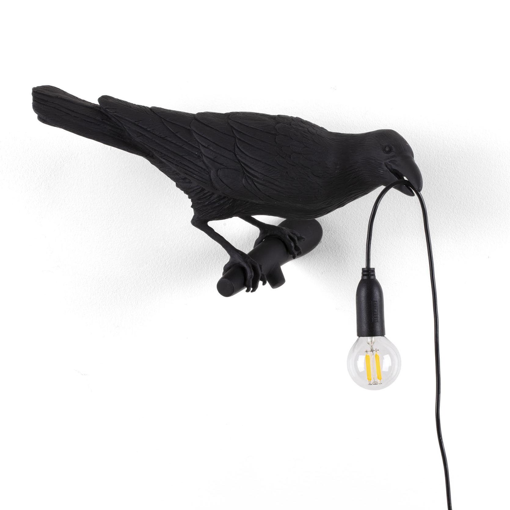Illuminazione - Lampade da parete - Applique con presa Bird Looking Right - / Outdoor di Seletti - Lampada / nero - Resina