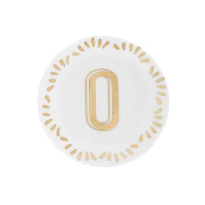 Arts de la table - Assiettes - Assiette à mignardises Lettering / Ø 12 cm - Lettre O - Bitossi Home - Lettre O / Or - Porcelaine