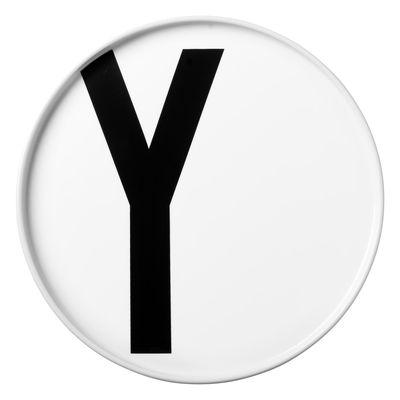 Assiette A-Z / Porcelaine - Lettre Y - Ø 20 cm - Design Letters blanc en céramique