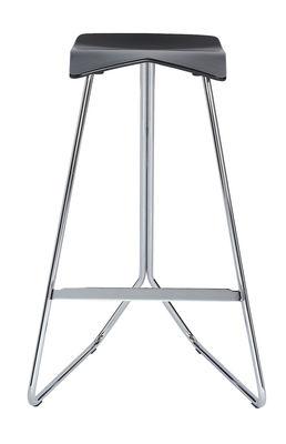 Furniture - Bar Stools - Triton Bar stool - H 64 cm / Plastic seat by ClassiCon - Black / Chromed leg - Chromed steel, Polyurethane