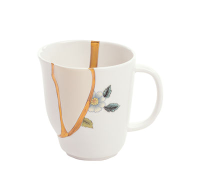 Tischkultur - Tassen und Becher - Kintsugi Becher / Porzellan & Feingold - Seletti - weiß & Gold / Motive blau - Gold, Porzellan