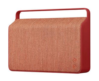 Accessoires - Lautsprecher & Ton - Copenhague Bluetooth-Lautsprecher / kabellos - mit Stoffbezug und Alugriff - Vifa - Rot - Aluminium, Kvadrat-Gewebe