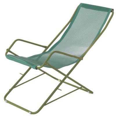 Chaise longue Bahama / Pliable - Emu bleu/vert en métal/tissu