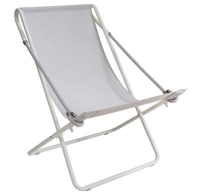 Jardin - Chaises longues et hamacs - Chaise longue Vetta / Pliable - 2 positions - Emu - Gris clair / Structure blanche - Acier verni, Corde, Toile