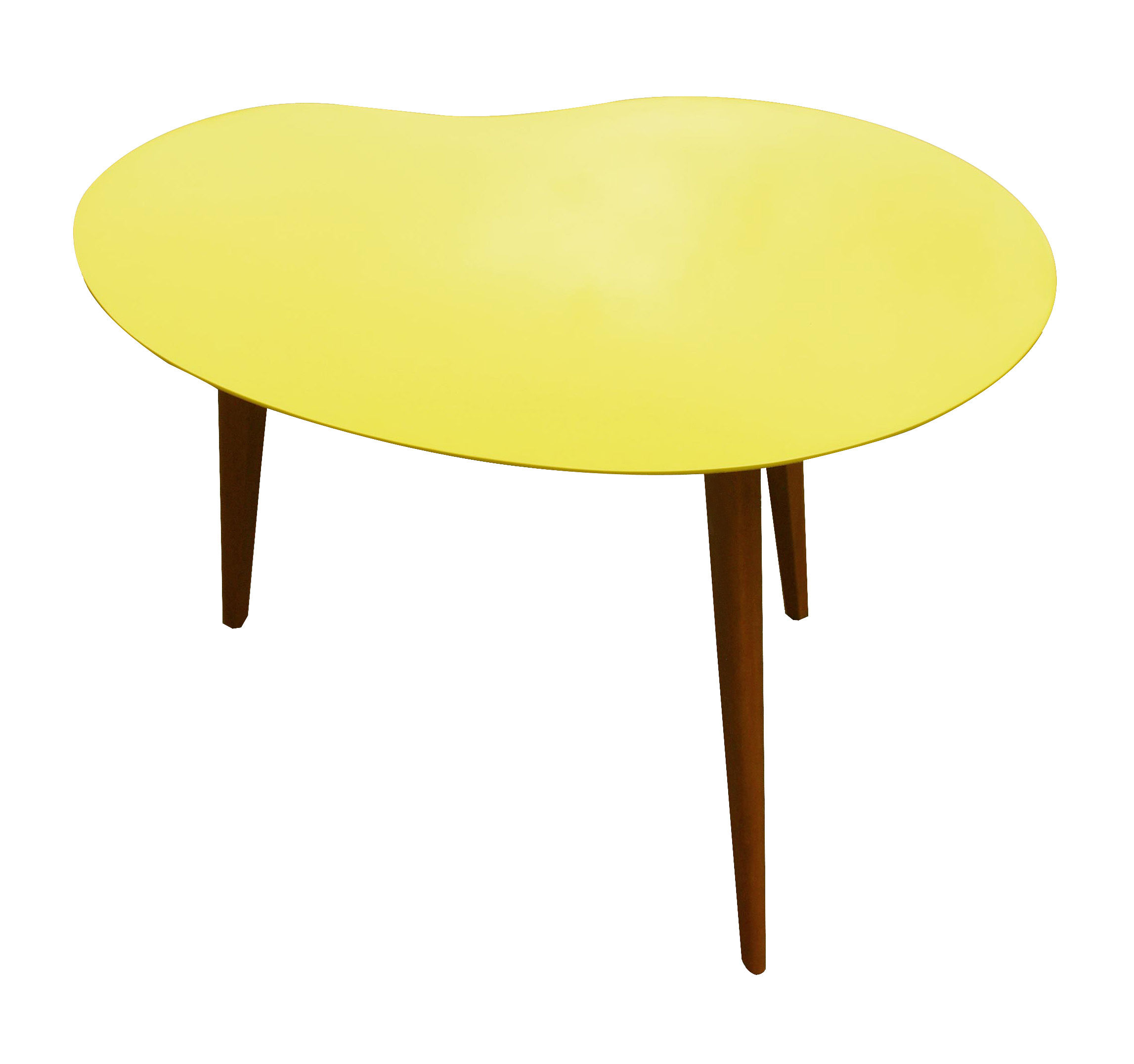 Furniture - Coffee Tables - Lalinde Coffee table - Free form Small by Sentou Edition - Yellow top / Wood legs - Lacquered MDF, Varnished oak