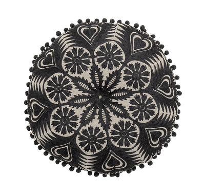 Image of Cuscino - / Ricami - Ø 40 cm di Bloomingville - Nero - Tessuto