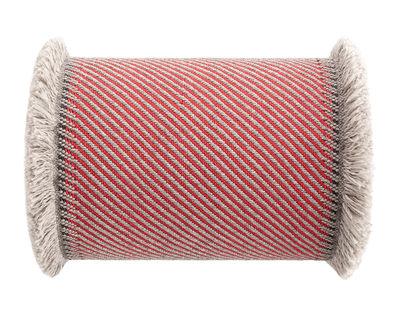 Decoration - Cushions & Poufs - Garden Layers Cushion - / Large roll - Handwoven by Gan - Diagonals / Red & almond - Foam rubber, Polypropylene