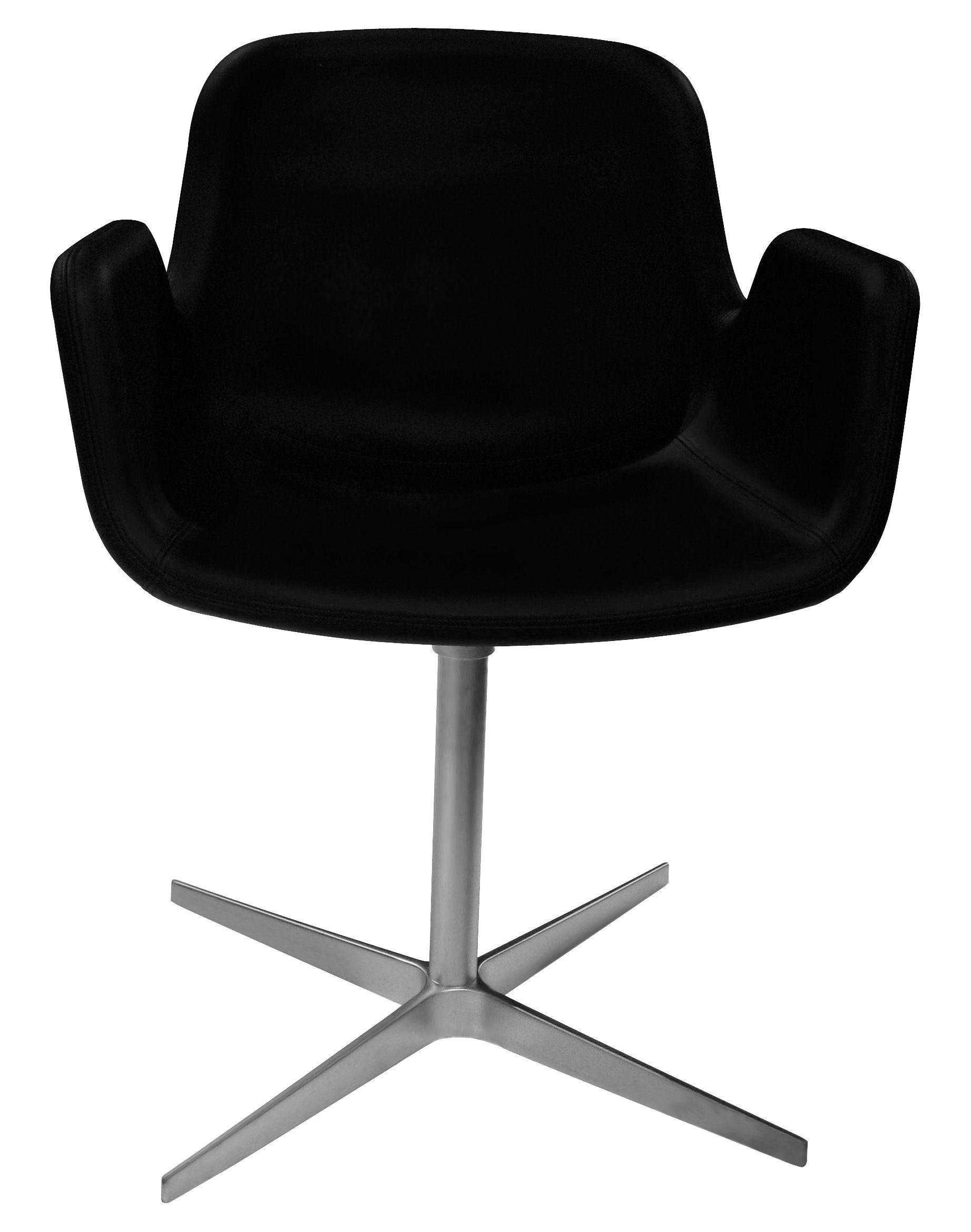 Möbel - Stühle  - Pass Drehsessel / gepolstert - mit Lederbezug - Lapalma - Sitzfläche mit schwarzem Lederbezug / Fußgestell verchromter Edelstahl, matt - Leder, verchromtes Aluminium