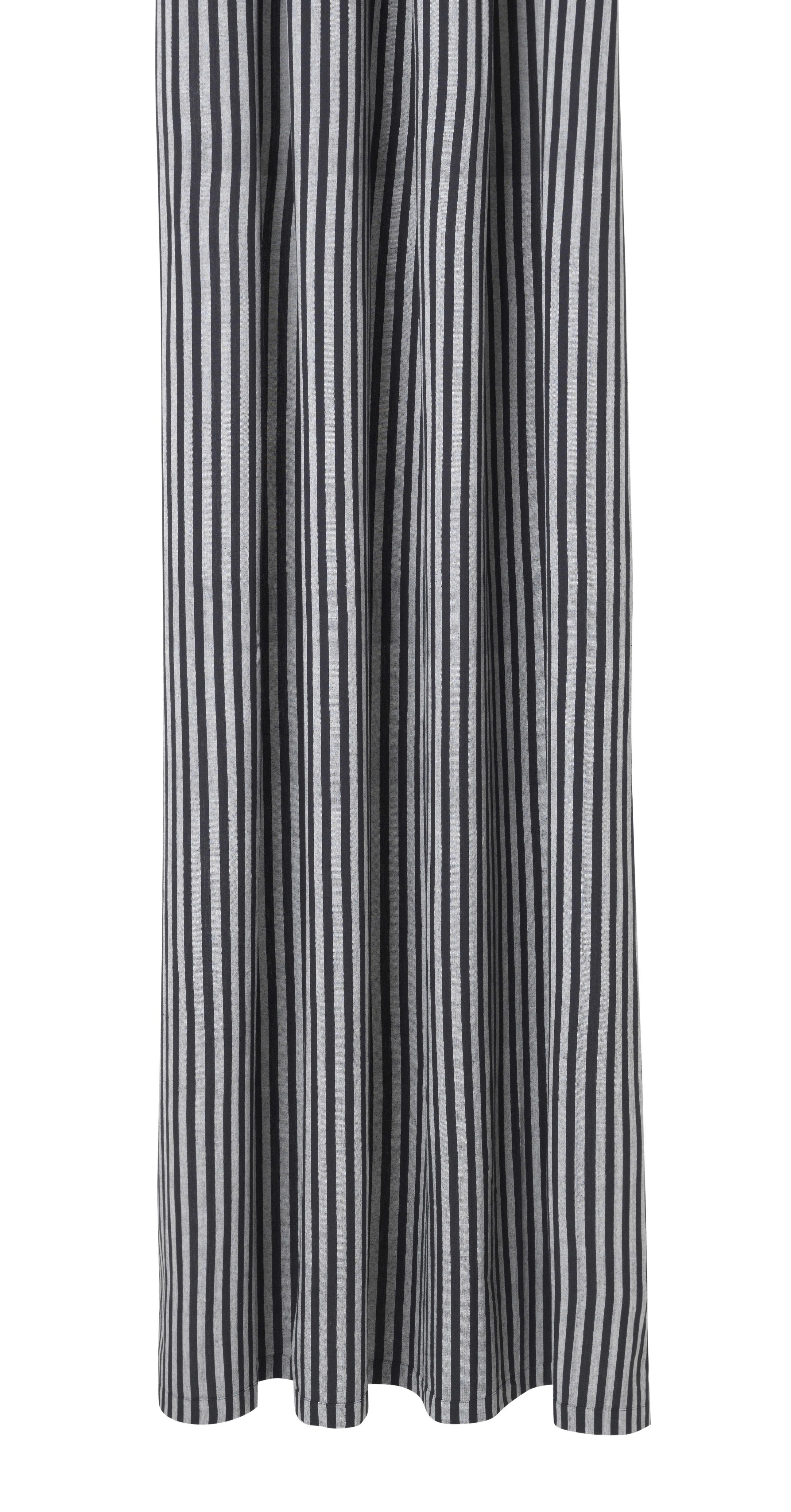 Accessoires - Accessoires für das Bad - Chambray Striped Duschvorhang / 160 x 205 cm - beschichtete Baumwolle - Ferm Living - Streifenmuster / grau & schwarz - beschichtete Baumwolle