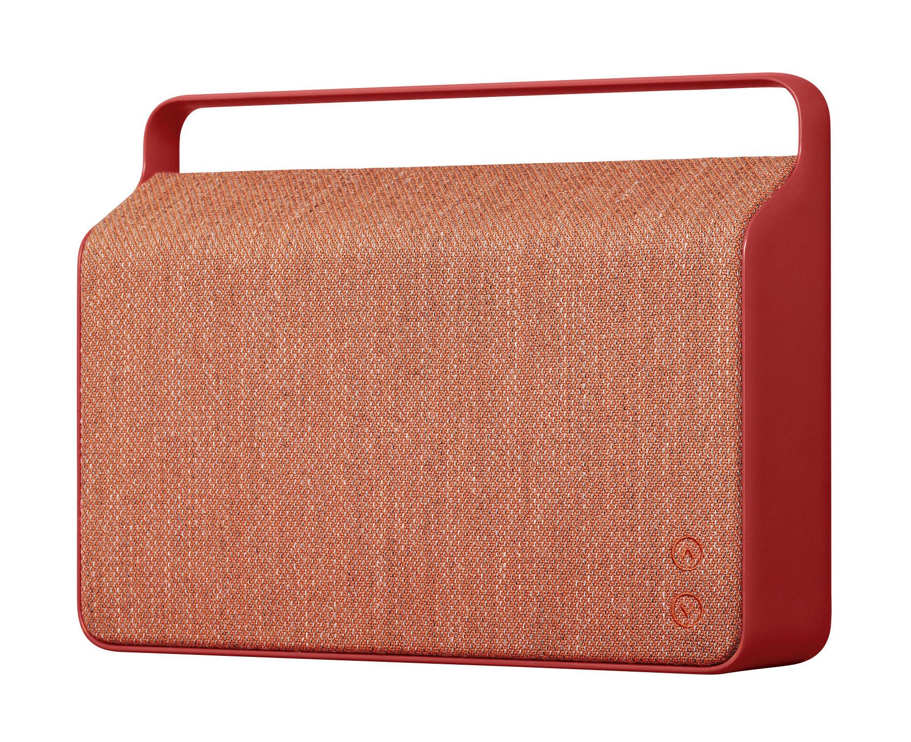Accessoires - Enceintes audio & son - Enceinte Bluetooth Copenhague / Sans fil - Tissu & poignée alu - Vifa - Rouge - Aluminium, Tissu Kvadrat