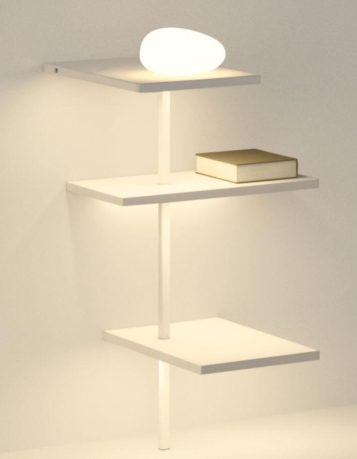 Mobilier - Etagères & bibliothèques - Etagère lumineuse Suite / H 69 cm /  Diffuseur verre & port USB - Branchement mural - Vibia - Blanc - Métal laqué, Polycarbonate, Verre