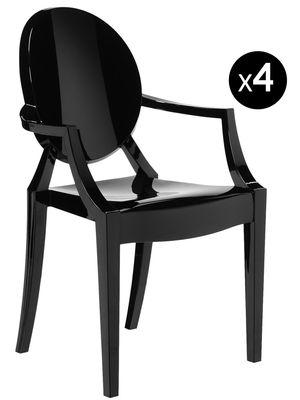 Mobilier - Chaises, fauteuils de salle à manger - Fauteuil empilable Louis Ghost / Lot de 4 - Kartell - Noir opaque - Polycarbonate