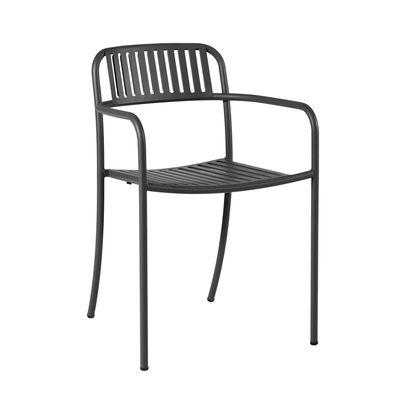 Mobilier - Chaises, fauteuils de salle à manger - Fauteuil empilable Patio Lames / Lattes - Inox - Tolix - Noir - Acier inoxydable