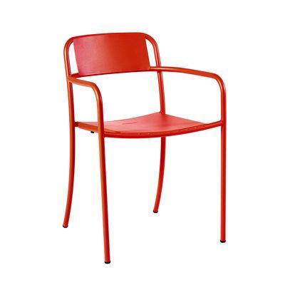 Mobilier - Chaises, fauteuils de salle à manger - Fauteuil empilable Patio / Inox - Tolix - Piment - Acier inoxydable