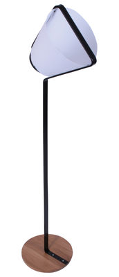 Lighting - Floor lamps - Cône Floor lamp by La Corbeille - Black - Lacquered metal, Oak, PVC