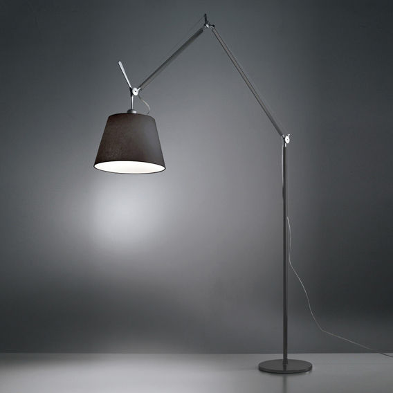 Lighting - Floor lamps - Tolomeo Mega Floor lamp - H 148 to 327 cm by Artemide - Diffuser Ø 32 cm / Black - Aluminium, Fabric