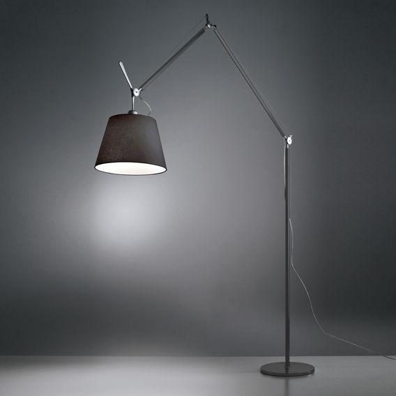 Lighting - Floor lamps - Tolomeo Mega Floor lamp - H 148 to 327 cm by Artemide - Diffuser Ø 32 cm / Black - Fabric, Painted aluminium