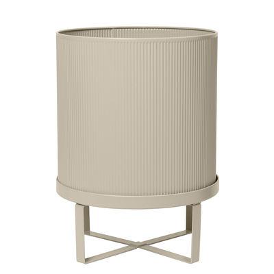 Outdoor - Pots & Plants - Bau Large Flowerpot - / Ø 28 cm - Metal by Ferm Living - Cashmere beige - Galvanized steel