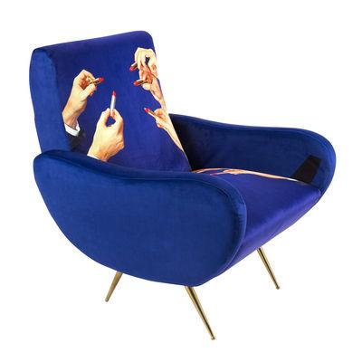 "Möbel - Lounge Sessel - Toiletpaper Gepolsterter Sessel - Seletti - Blau / Motiv ""Lipstick"" - Holz, Metall, Polyester-Gewebe, Polyurethan-Schaum"