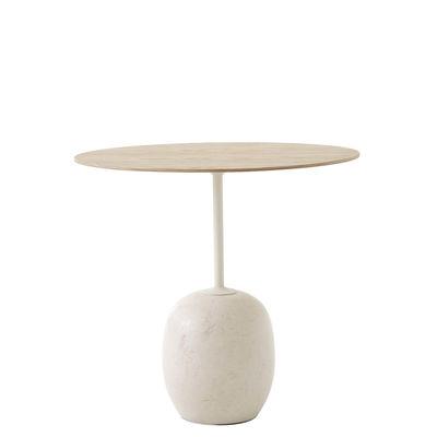 Mobilier - Tables basses - Guéridon Lato LN9 / Marbre & bois - 50 x 40 x H 45 cm - &tradition - Plateau chêne / Marbre crème - Acier laqué, Contreplaqué de chêne, Marbre