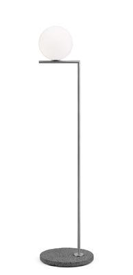 Lampadaire IC F1 Outdoor / H 135 cm - Base pierre - Flos gris,acier brossé en métal