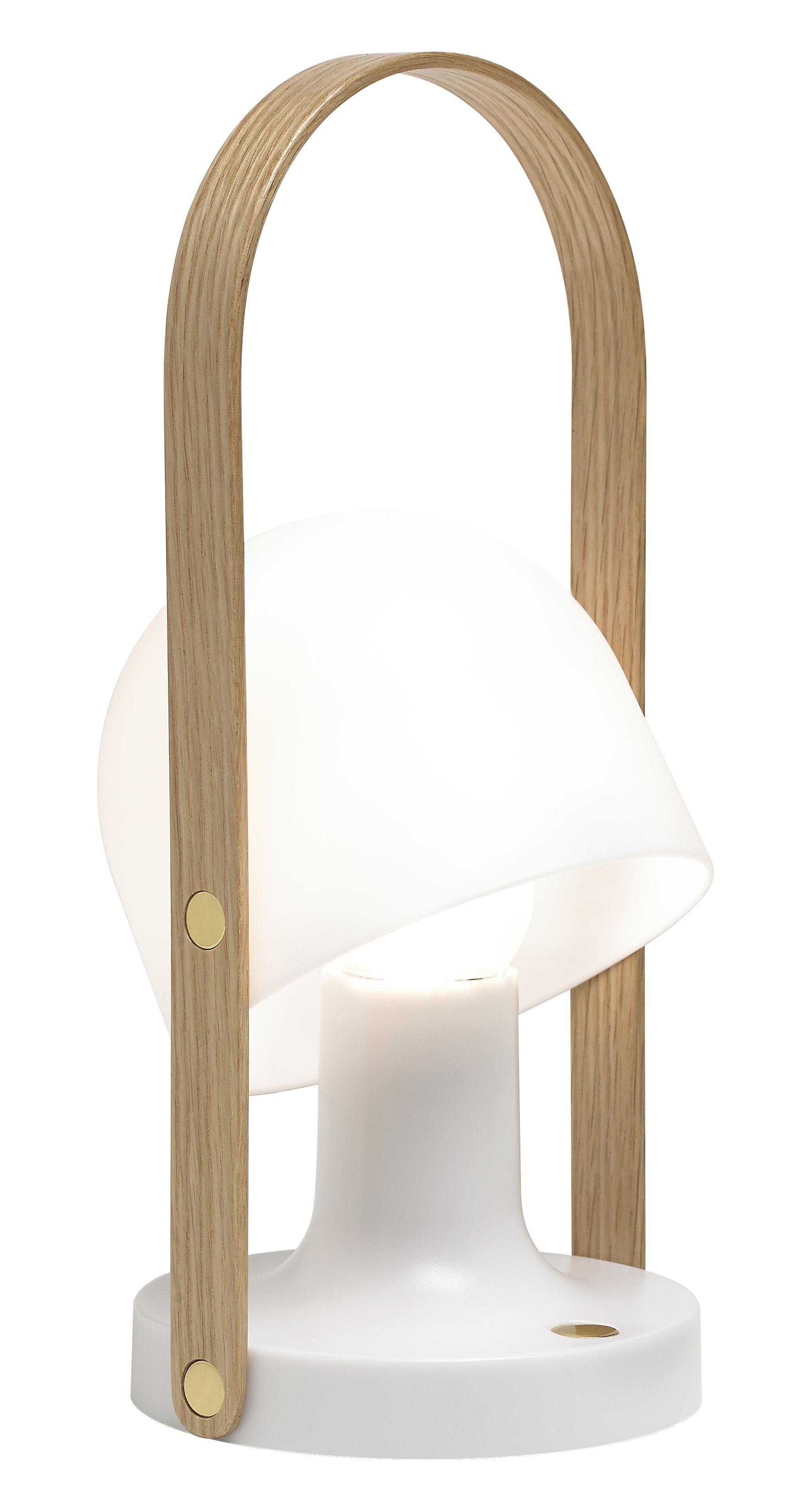 Luminaire - Lampes de table - Lampe sans fil FollowMe / LED - H 29 cm - Marset - H 29 cm / Blanc & bois - Contreplaqué de chêne, Polycarbonate
