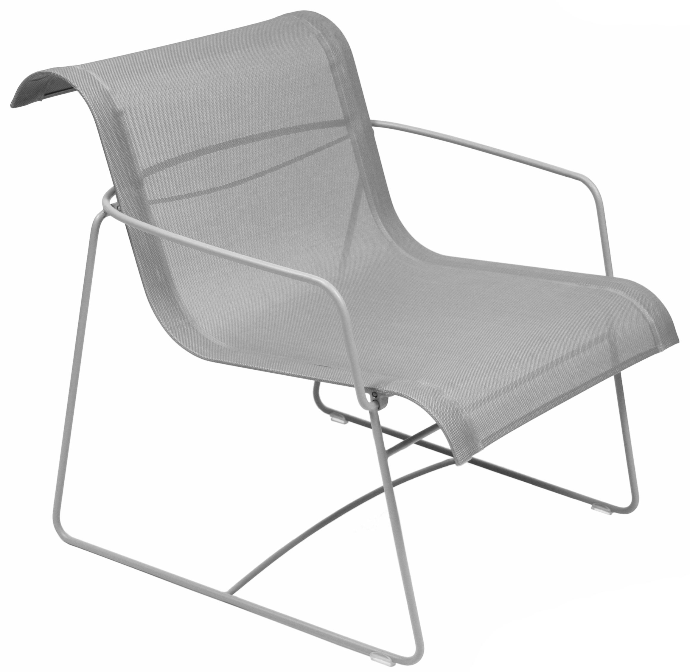 Furniture - Armchairs - Ellipse Low armchair by Fermob - Steel Grey - Cloth, Steel