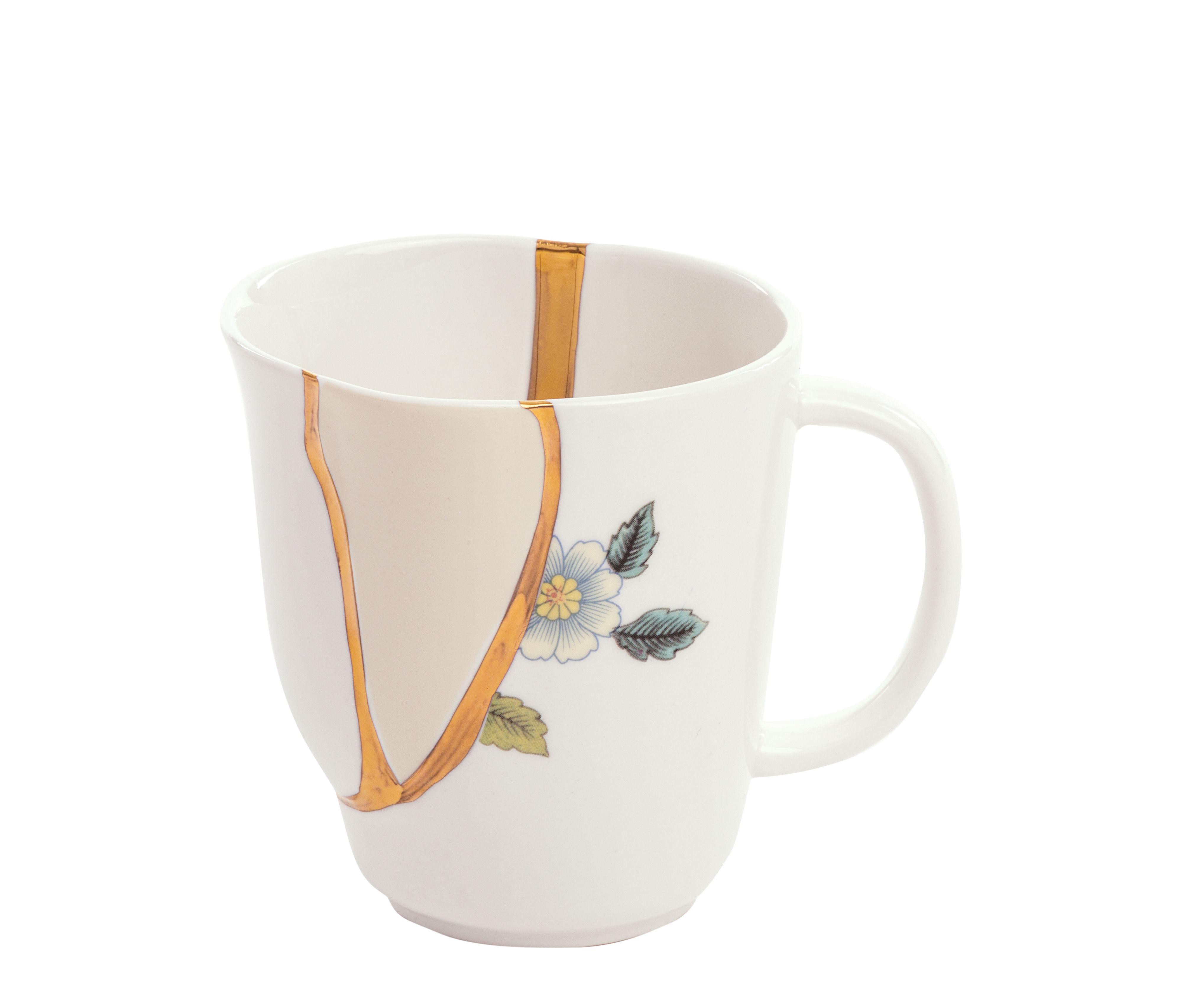 Tableware - Coffee Mugs & Tea Cups - Kintsugi Mug - / Porcelain & gold finish by Seletti - White & gold / Blue patterns - China, Gold