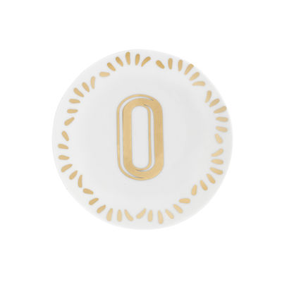 Tableware - Plates - Lettering Petit fours plates - Ø 12 cm / Letter O by Bitossi Home - Letter O / Gold - China