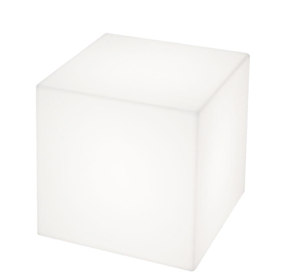 Arredamento - Tavolini  - Sgabello luminoso Cubo LED RGB - senza filo - 43 x 43 x 43 cm - Per l'esterno di Slide - Bianco / Esterno - 43 x 43 x 43 cm - polietilene riciclabile