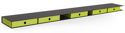 Furniture - Bookcases & Bookshelves - Alizé Shelf by Matière Grise - Anthracite / Anis green drawers - Steel
