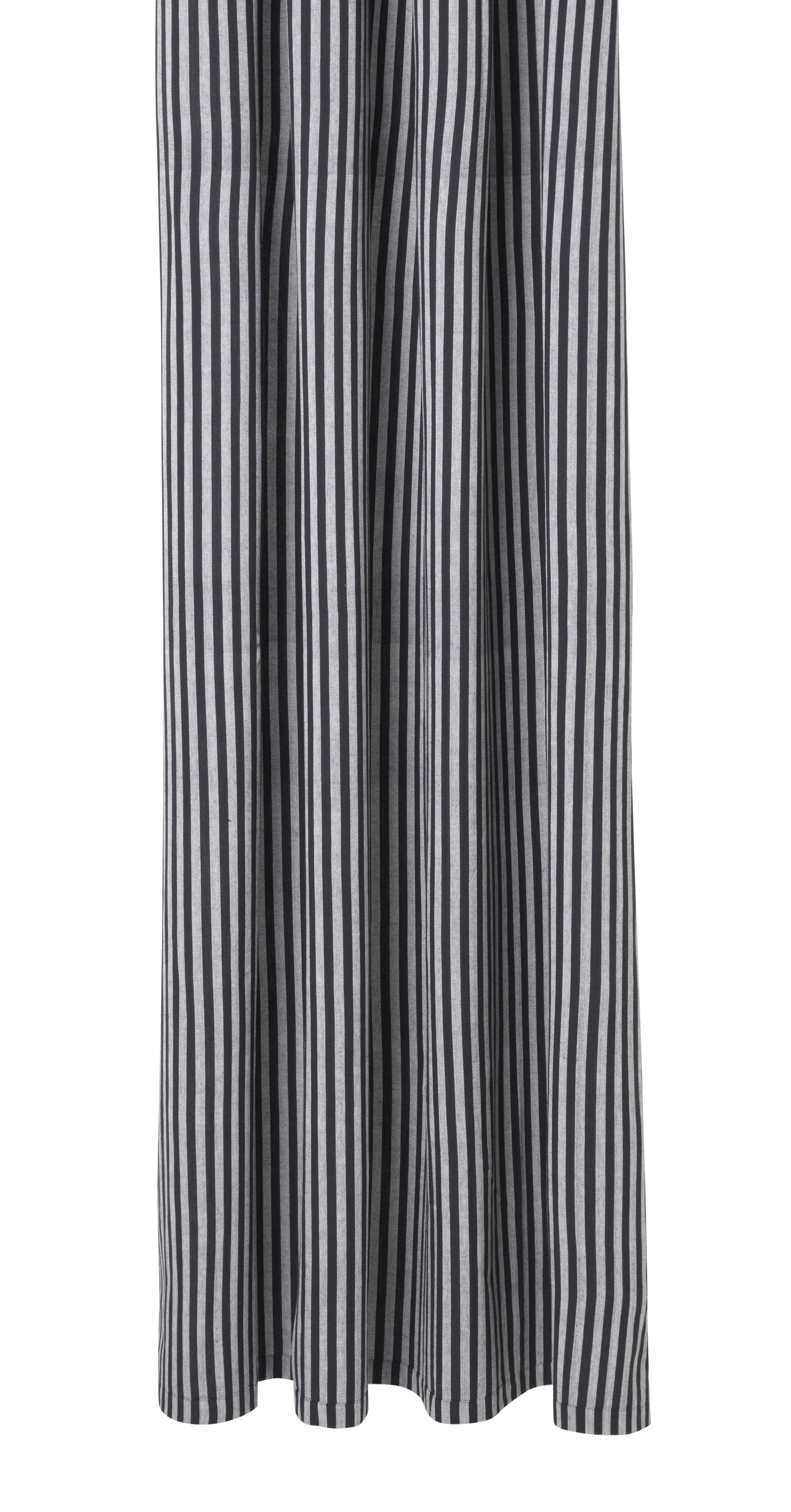 Accessories - Bathroom Accessories - Chambray Striped Shower curtain - / 160 x H 205 cm - Coated cotton by Ferm Living - Striped / Grey & black - Coated cotton
