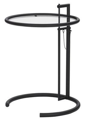 Table d'appoint E 1027 / Réédition 1927 - Hauteur réglable - ClassiCon noir en métal/verre
