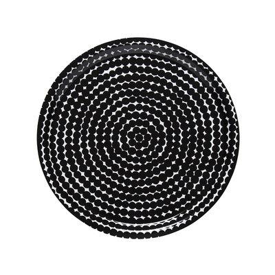 Tableware - Trays - Räsymatto Tray - / Ø 31 cm by Marimekko - Räsymatto / Blanc & noir - Laminated birch
