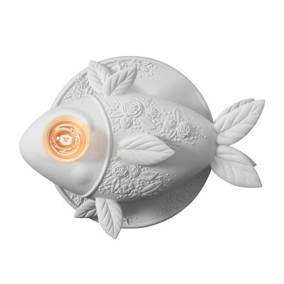 Lighting - Wall Lights - Aprile Wall light - Ceramic fish - L 50 x H 35 cm by Karman - White - Raw ceramic