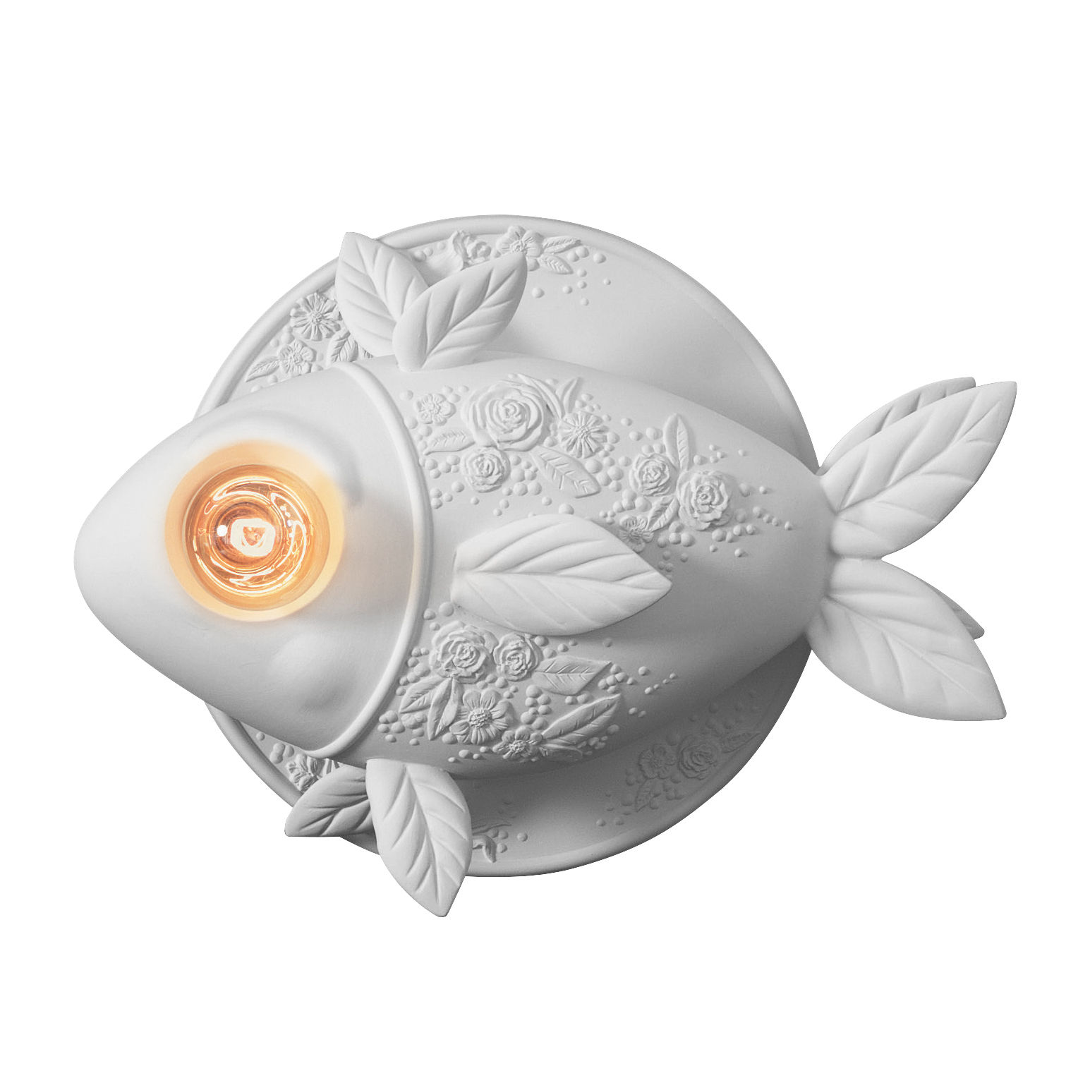 Lighting - Wall Lights - Aprile Wall light - Ceramic fish - L 50 x H 35 cm by Karman - White - Raw ceramic