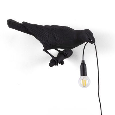 Lighting - Wall Lights - Bird Looking Right Wall light with plug - / Outdoor by Seletti - Lamp / Black - Resin