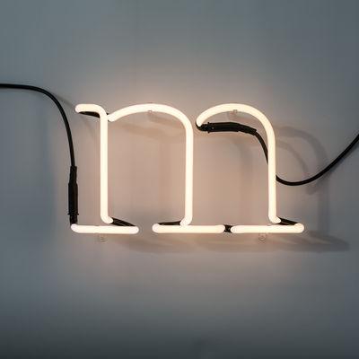 Applique avec prise Neon Art / Lettre M - Seletti blanc en verre
