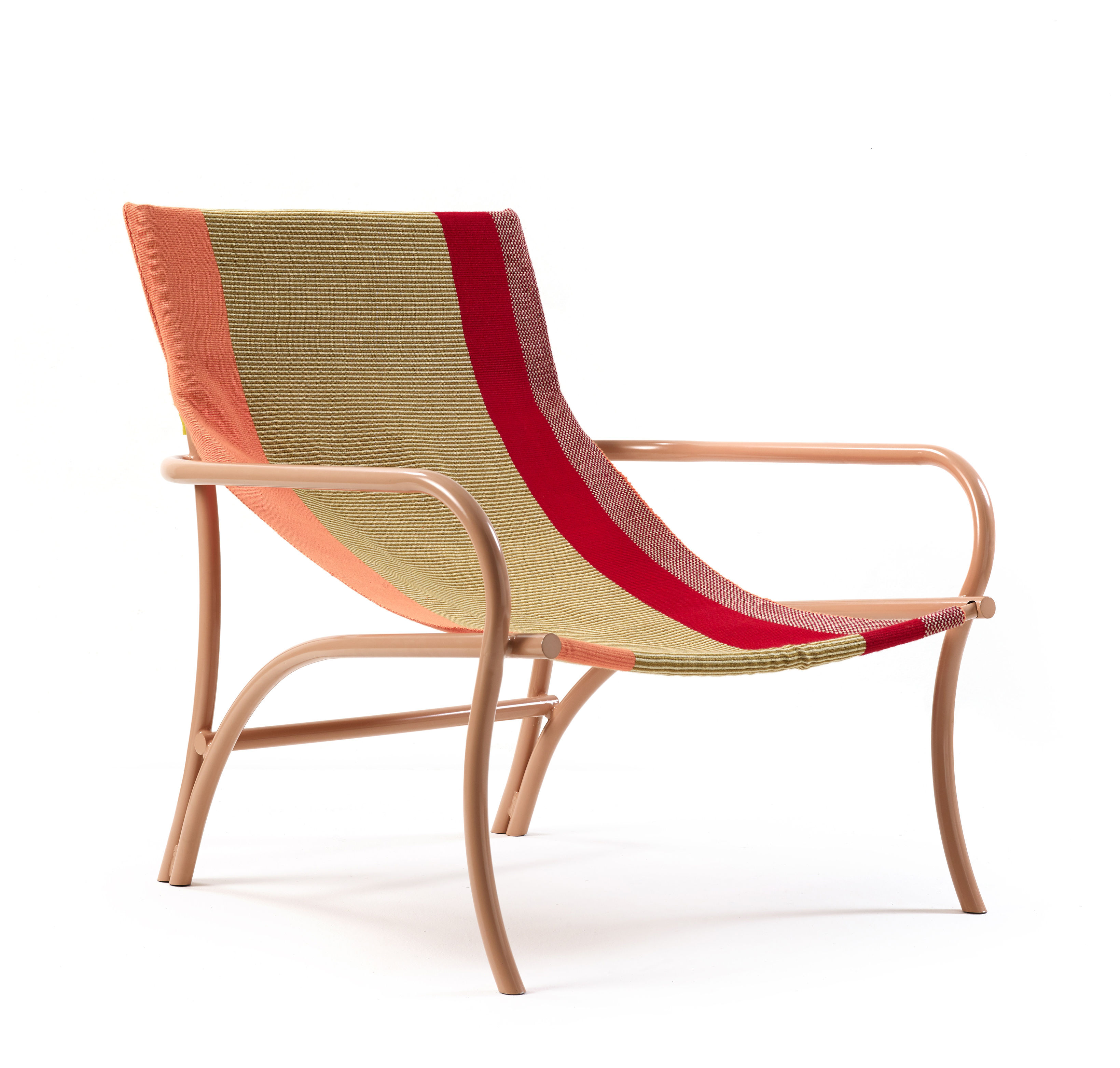 Furniture - Armchairs - Maraca Armchair - / Cotton by ames - Sand & red / Pale pink - Cotton, Lacquered steel