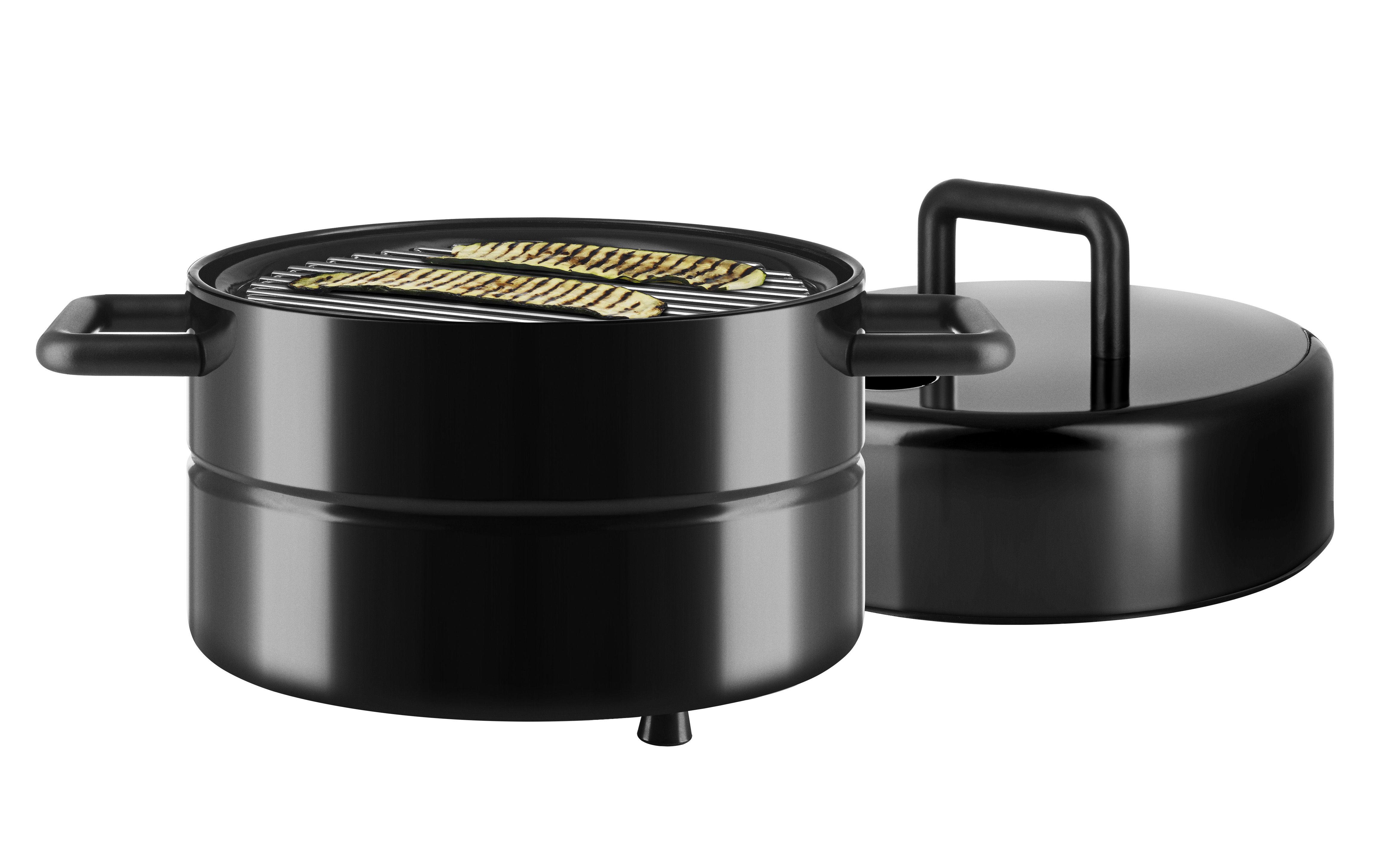 Outdoor - Barbecue - Barbecue portatile a carbone To Go - / Trasportabile - Ø 32 x H 40 cm di Eva Solo - Nero - Acciaio inossidabile, Silicone
