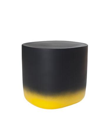 Möbel - Couchtische - Touch Medium Beistelltisch / L 37 cm x H 34 cm - Keramik - Moustache - Gelb & schwarz - emaillierte Keramik