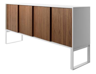 Mobilier - Commodes, buffets & armoires - Buffet Oblique / L 192 cm - 4 portes noyer - Horm - Blanc / Noyer - Mélaminé laqué, Placage noyer