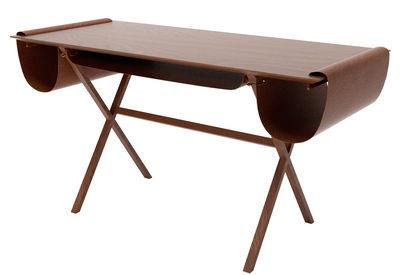 Bureau oscar valsecchi bois naturel cuir marron h