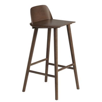 Mobilier - Tabourets de bar - Chaise de bar Nerd / H 75 cm - Bois - Muuto - Bois foncé - Chêne massif teinté, Contreplaqué de chêne teinté